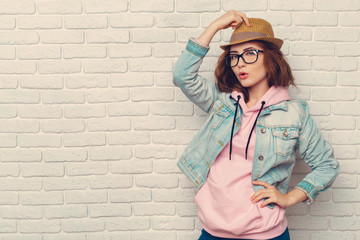 portrait of young stylish hipster woman