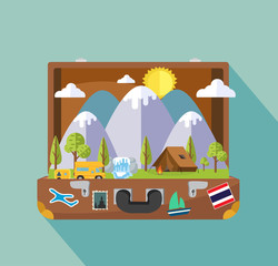 Open suitcase with Camping Travel Landscape island