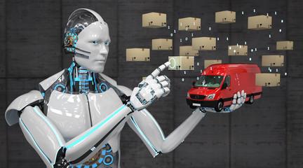 Logistik 4.0 Ein Roboter kontrolliert die Logistik eines Versandunternehmens