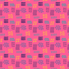 Geometric abstract background in doodle style, vector. Pink background