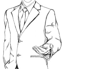 drawing sketch simple line of business man with open palm hand action for invite meaning on friendly business with copy space