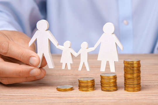 Budget of the family. Coins pile and the symbol of the family