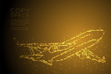 Abstract Geometric Circle dot pixel pattern Airplane shape, transportation concept design gold color illustration isolated on brown gradient background with copy space, vector eps 10