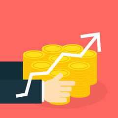 2 Hand hold money with graph, vector illustration