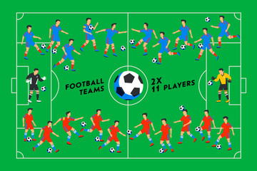 Football players on a green field. Soccer players on different positions playing football on a stadium. Spectacular sport. Colorful flat style illustration.