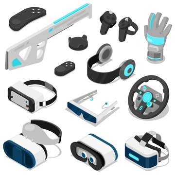 Virtual reality vector vc gaming digital device or gadget 3d glasses or headset isometric illustration set of electronic entertainment virtual equipment isolated on white background