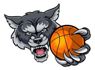 Wolf Holding Basketball Ball Mascot