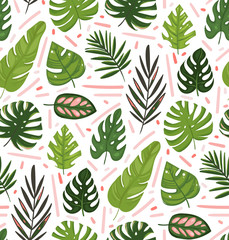 Hand drawn vector abstract cartoon summer time graphic illustrations art seamless pattern with exotic tropical palm tree leaves isolated on white background