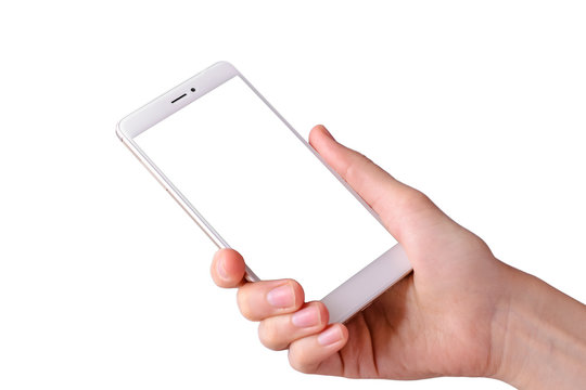 woman's hand holding white smartphone with blank screen on isolated white background
