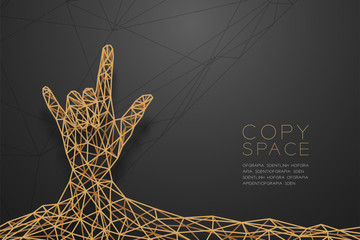 I love you Hand sign language shape front view wireframe Polygon golden frame structure, valentine concept design illustration isolated on black gradient background with copy space, vector eps 10