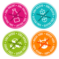 Wall Mural - Lactose free, Gluten free, Sugar free and 100% vegan Badges. Eps10 Vector.