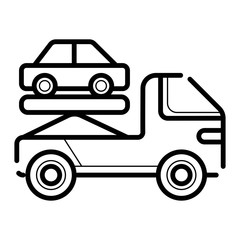 Tow truck driven cars icon