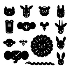 Cartoon animal heads bundle. Modern concept of flat design for kids cards, banners and invitations, stencil path for laser cutting of plywood or paper.