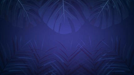 Exotic tropical rainforest background with palm leaves. Tropical night dark background