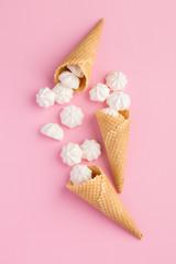 Sweets in ice cream cones