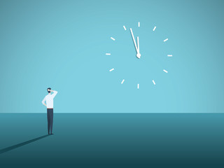 Business deadline vector concept with businessman staring at a clock on the wall. Symbol of stress at work, management pressure, burnout.