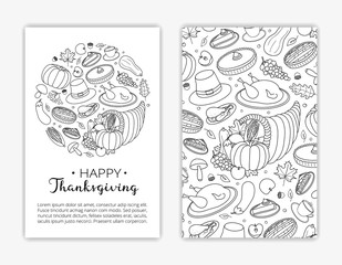 Editable card templates with hand drawn Thanksgiving items.