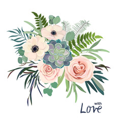 Greenery bouquet with rose, succulent , eucalyptus, fern and cactus. Perfect for wedding, frame, pattern,greeting card, invitations, lettering. Watercolor style. Vector illustration