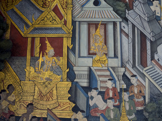 Ancient murals inside the temple,WAT PHO in Bangkok, Thailand.