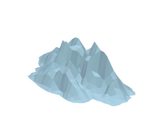 Iceberg. Isolated on white background. 3d Vector illustration.