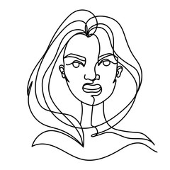 Screaming Woman One Line Art Portrait. Angry Female Facial Expression. Hand Drawn Linear Woman Silhouette. Vector illustration