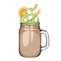 delicious chocolate drink in a Mason jar, decorated with whipped cream or pistachio ice cream, orange, marshmallow and waffle tubes. illustration on white background.