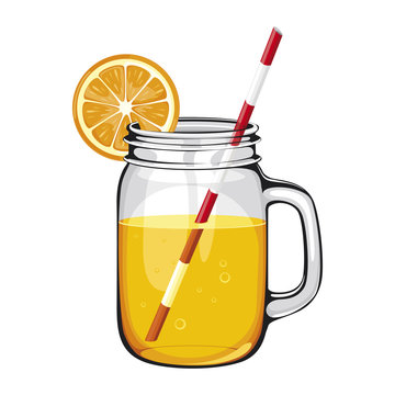 range juice,smoothie, in a mason jar with a straw, DECORATED WITH AN ORANGE SLICE. Vector healthy drink with orange fruit on white background.
