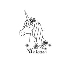 Unicorn vector icon . Head portrait horse,linear design .Dream symbol. Design for baby.
