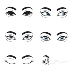 Set collection of blue female eyes and brows on white background. Different cartoon eye expressions. Gymnastics for eyes. Eyes looking up, down , left, right , eyes closed .