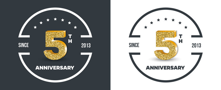 5th Anniversary logo on dark and white background. 5-year anniversary banners. Vector illustration.