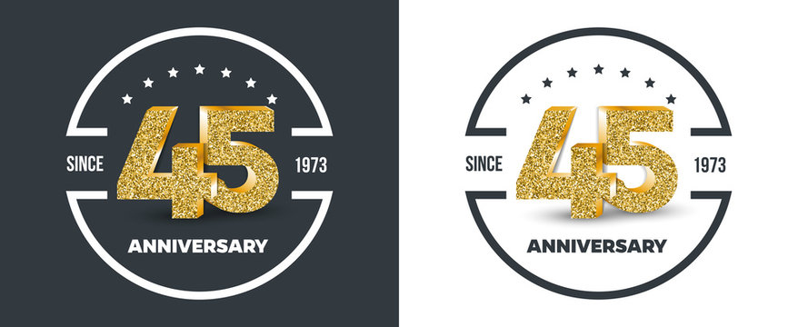 45th Anniversary logo on dark and white background. 45-year anniversary banners. Vector illustration.