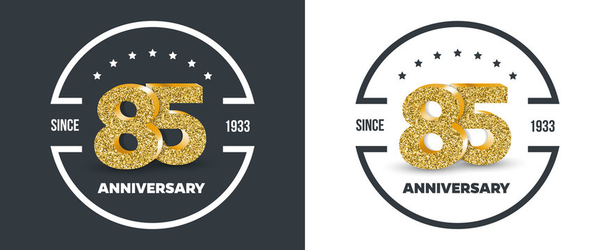 85th Anniversary logo on dark and white background. 85-year anniversary banners. Vector illustration.
