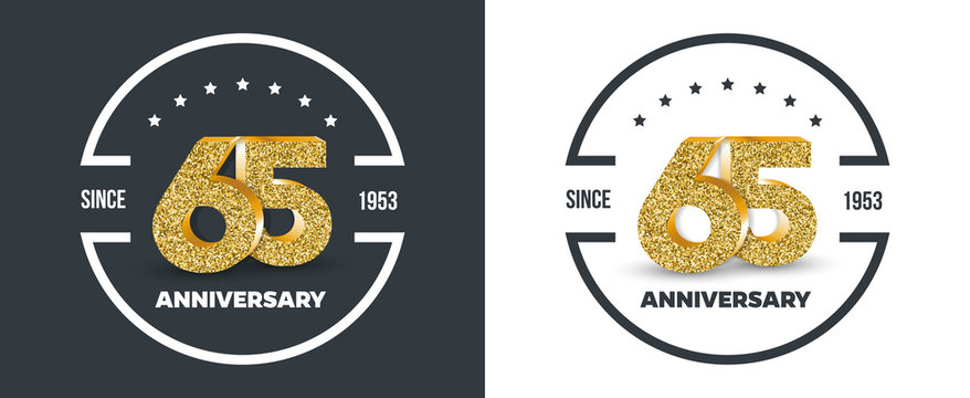 65th Anniversary logo on dark and white background. 65-year anniversary banners. Vector illustration.