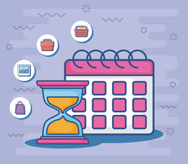 calendar and hourglass with digital marketing related icons around over purple background, colorful design. vector illustration