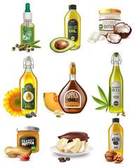 Realistic Vegetable Oils Set