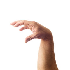 Adult male hand showing gesture of holding something isolated on white
