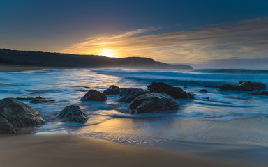 Soft Blue Rocky Sunrise Seascape