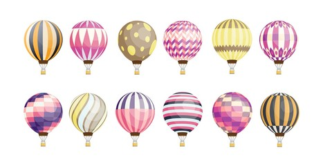 Collection of round hot air balloons of various pattern and color isolated on white background. Bundle of bright colored manned aircrafts. Colorful vector illustration in flat cartoon style.