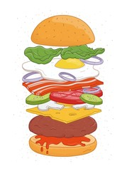 Tasty hamburger with layers or ingredients isolated on white background - buns, fried egg, vegetables, cheese, mushrooms. Realistic drawing of burger or sandwich, fast food meal. Vector illustration.