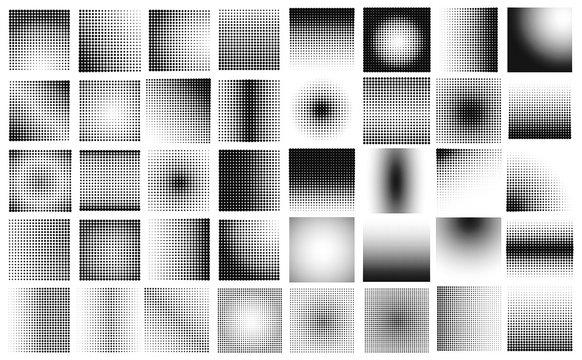 halftone dot big set vector