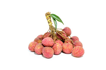 Lychee is the bundle bunch isolated on a white background.