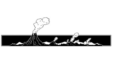 Vector artistic pen and ink drawing illustration of volcano mountain landscape.