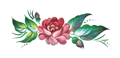 Russian traditional painting. Rose flower isolated on white background.