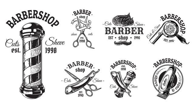 Set of vintage barbershop emblems labels badges logos scissors blade brush pole. Isolated on white background. Vector illustration