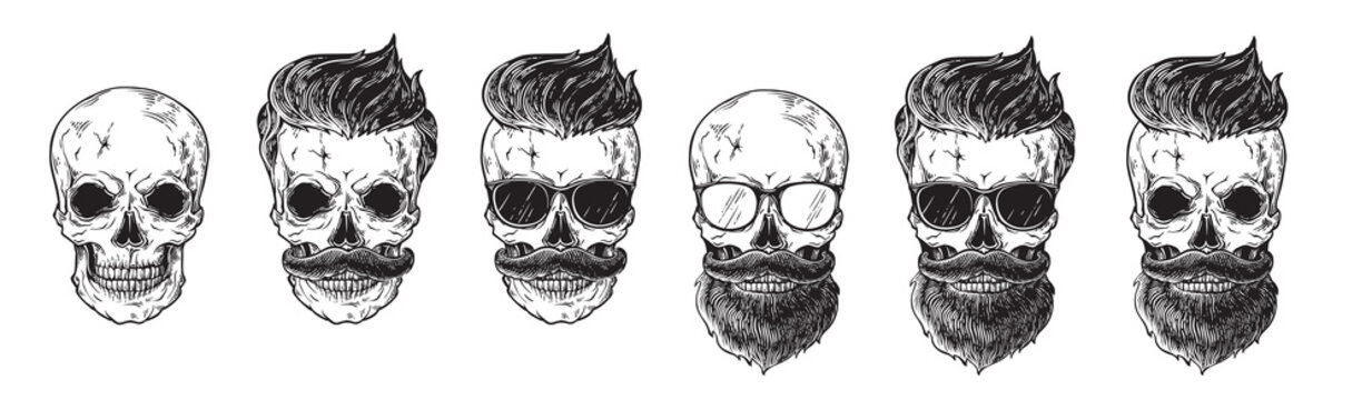 Set of bearded men faces, hipsters with different haircuts mustaches beards skull. Silhouettes emblems icons labels. vector illustration