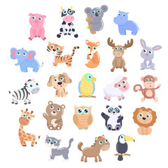 Cute animals set.