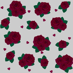 Flowers roses, red rose and green leaves. Set collection. Isolated on white background. Pattern.