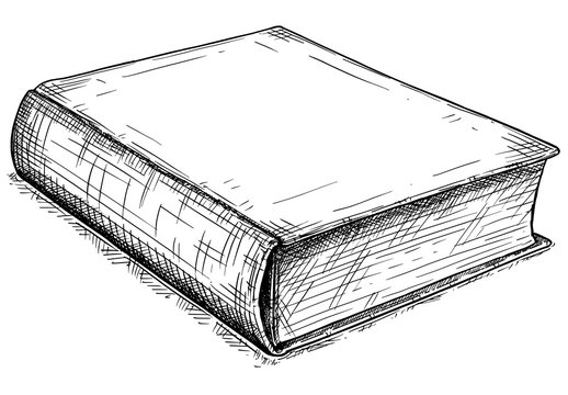 Vector artistic pen and ink drawing illustration of old closed book.