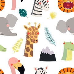 Hand drawn seamless vector pattern with different cute safari animals, on a white background. Scandinavian style flat design. Concept for children, textile print, wallpaper, wrapping paper.