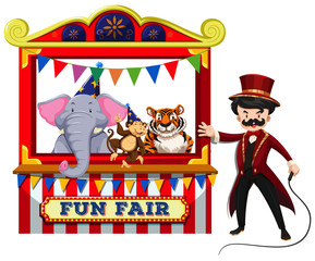 Animal Circus Show on White Background